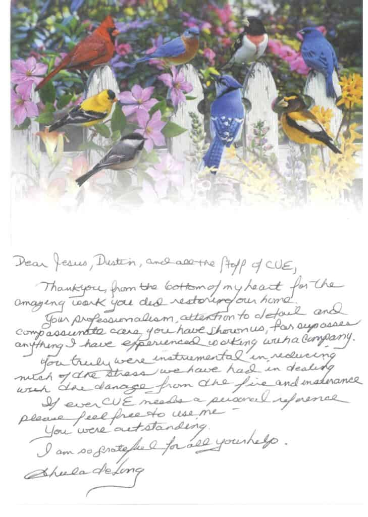 Sheila D hand written note reivew